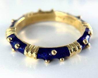 Hidalgo 18k Yellow Gold Blue Enamelware Ring (R000875)