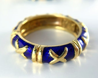 Hidalgo 18k Yellow Gold Blue Enamelware Ring (R000877)