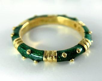 Hidalgo 18k Yellow Gold Green Enamelware Ring (R000875)