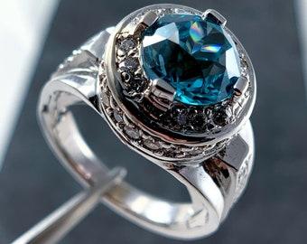 Blue Zircon and Diamond Halo Ring (R2501)