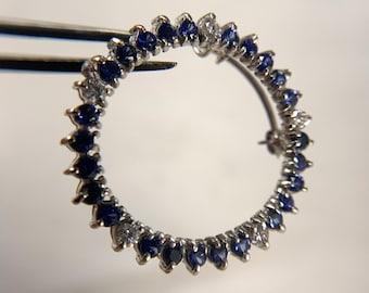 14k White Gold Sapphire and Diamond Circular Pin (A2373)