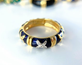 Hidalgo 18k Yellow Gold Diamond Enamelware Ring (R001896)