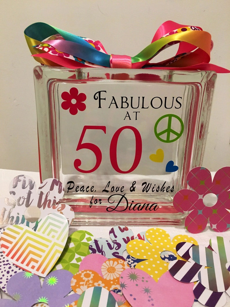 50th Birthday Wish Block Jar Tie Dye 60s Themed