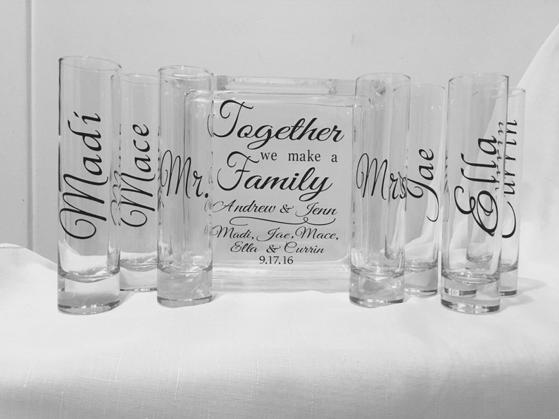 Family Blended Unity Sand or Salt Pouring Ceremony Glass image 0