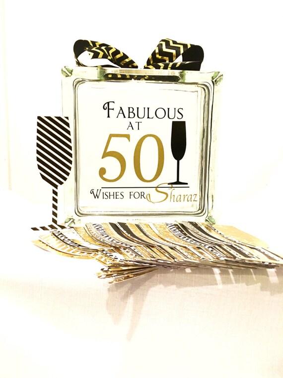 50th Birthday Wish Block Jar Champagne Themed