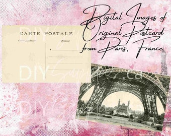 Digital Jpg Images of a Vintage Postcard both Front & Back Early 1900's of the Eiffel Tower