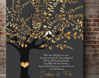 50th anniversary gift for parents family tree art 50year marriage canvas print Golden anniversary Personalized Wedding Gifts heart in tree & 50th anniversary gifts | Etsy