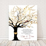 50th anniversary gift for parents family tree art 50year marriage canvas print Golden anniversary Personalized Wedding Gifts heart in tree