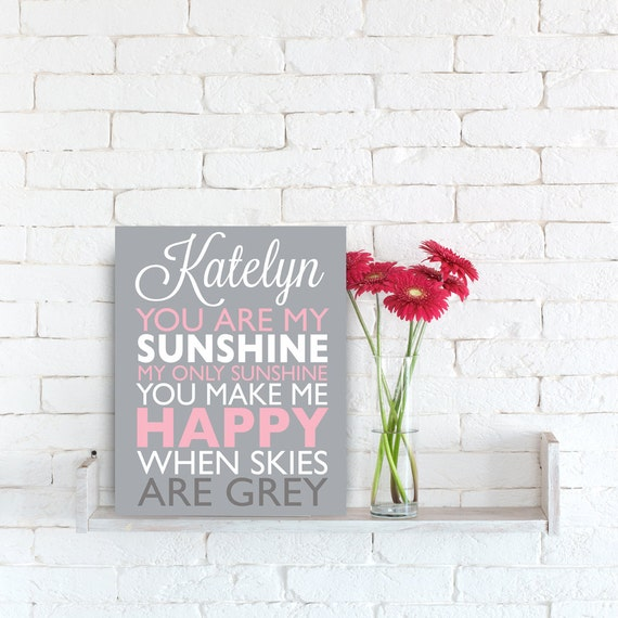 Personalized Nursery Art You Are My Sunshine Nursery Song Poem Etsy