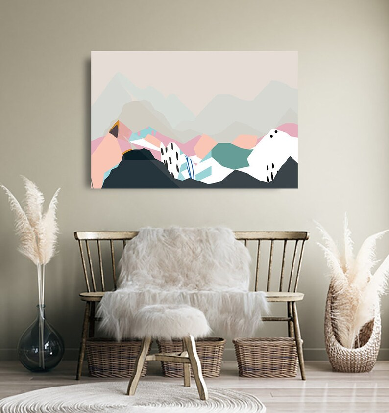 Mountain art Large Abstract Wall art Scandinavian style Version 1