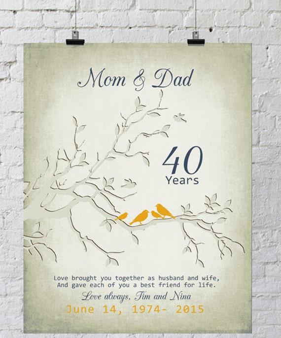 40 Jahrestagsgeschenk Fur Eltern 40 Jahre Ehe Ruby Jubilaum Etsy