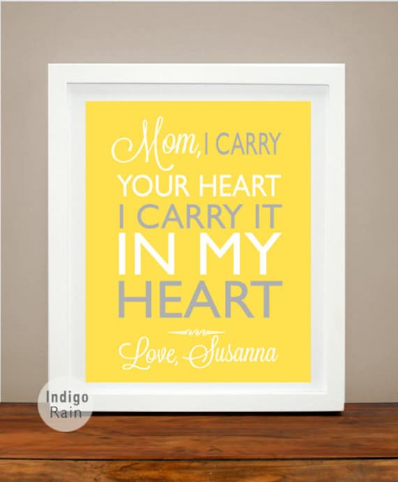 Mom Gift gift for mom from daughter I carry your heart.. ee