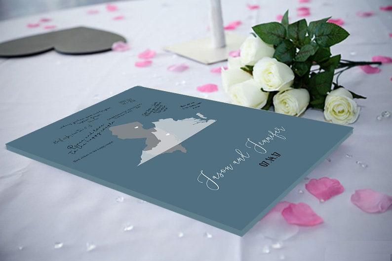 Wedding Guest Book Alternative wedding decor2 state Map Blue Slate