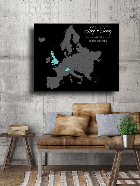 Romantic Gift 40th Birthday For Husband Wife Personalized Gifts New Home Couple Last Name Sign Map Art