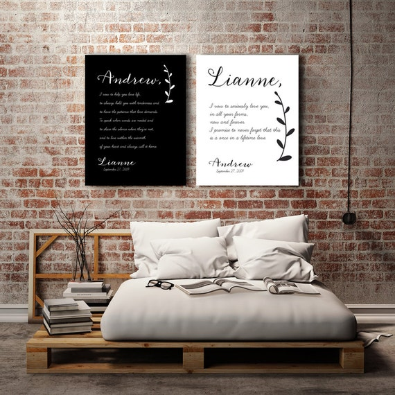 Wedding Vows On Canvas Romantic Gifts Romantic Gift For Him Bedroom Wall Art Master Bedroom Decor Wedding Vows Canvas Vegas Before Vows