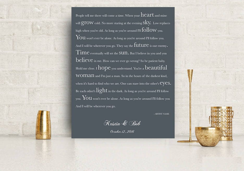 Gift for wife song lyrics gift husband gift first dance song art lyrics to  canvas 30th anniversary 15th anniversary wedding gift song lyric