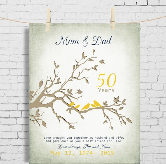 50th Wedding Anniversary Gift Anniversary Gift For Parents Etsy