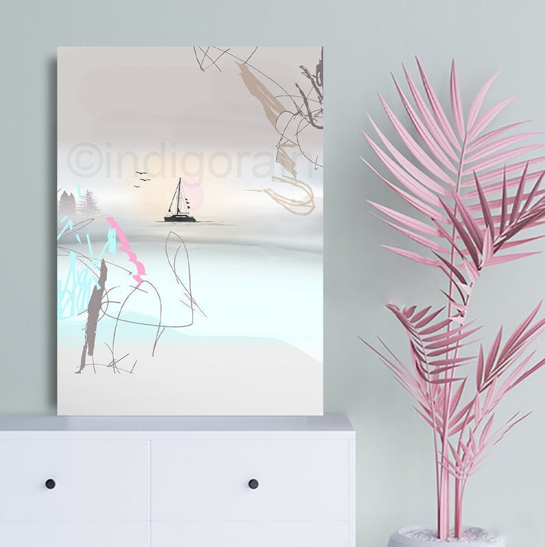 Sailboat painting Large Abstract painting Happy Birthday Large image 0