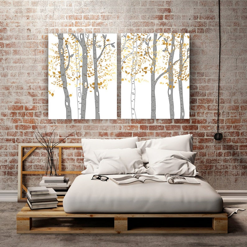 Strange 25Th Anniversary Gift For Women Wall Art Bedroom Art Living Room Decor Wedding Gift Birch Trees Extra Large Canvas T For Her Forest Trees Home Interior And Landscaping Palasignezvosmurscom