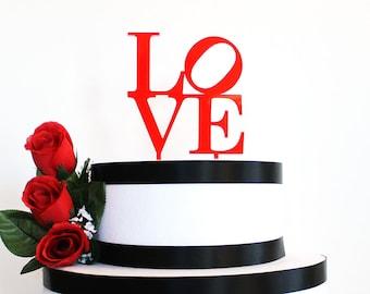 Love Philly Cake Topper, love statue, wood cake topper, acrylic cake topper, valentine's day, philadelphia
