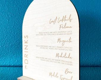 Modern Arched Wood Drink Menu, Signature Drink Sign, Bar Menu, Wedding Drink Menu, Custom Drink Menu