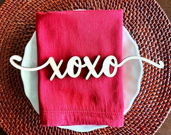 XOXO place cards, Valentine's Day place cards, XOXO wood place cards, Valentine's Day place setting