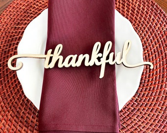 Thankful place cards, Blessed place cards, grateful place cards, Thanksgiving wood place cards, Thanksgiving place setting