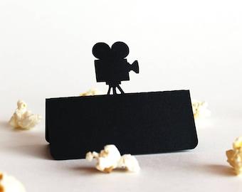 Movie Camera Place Card, Movie wedding, Hollywood wedding, Wedding place card, Wedding escort card