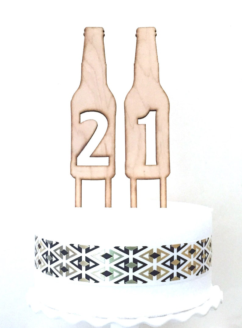Beer Bottle Number Cake Toppers 21st Birthday Topper