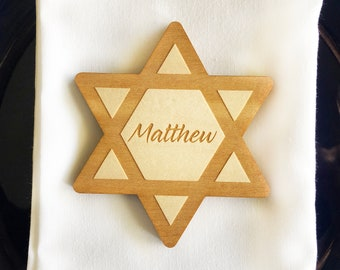 Star of David Wood Personalized Place Cards, Hanukkah Place Cards, Chanukah Place Cards, Personalized Place Cards,