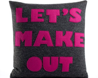 "Throw Pillow, Decorative Pillow, 'Let's Make Out"" pillow, 16 inch"