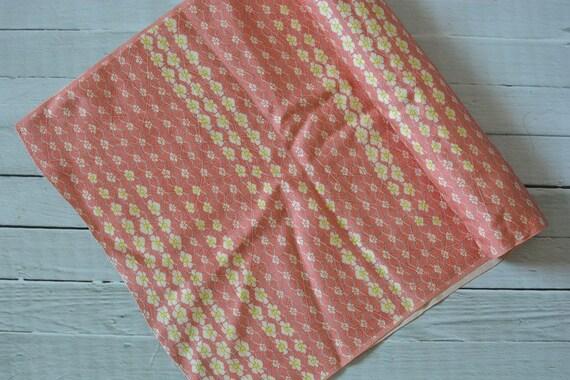 Vintage Japanese Silk Kimono Fabric Flowers Pink Set of 2