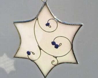 White Iridescent Stained Glass Star Suncatcher or Ornament for Hanukkah