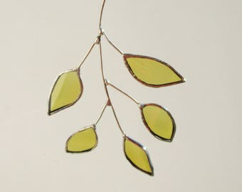 White Ash  Leaf Stem - Upcycled Stained Glass Suncatcher