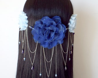 REDUCED PRICE Blue Fairy Headdress with fabric flowers, beads, and silver chain