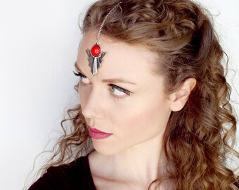 Silver and Red Head Jewel Tikka for Goddess