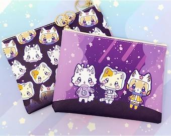 Leo and Friends - Kawaii Space Cat Printed Cosmetic Bag