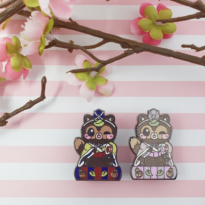 Drummer Tanuki: Girl's Day Animal Enamel Pins image 0