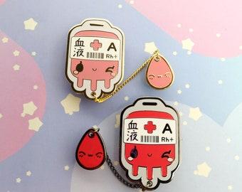 Blood Bag Hard Enamel Pins - A + Blood Type