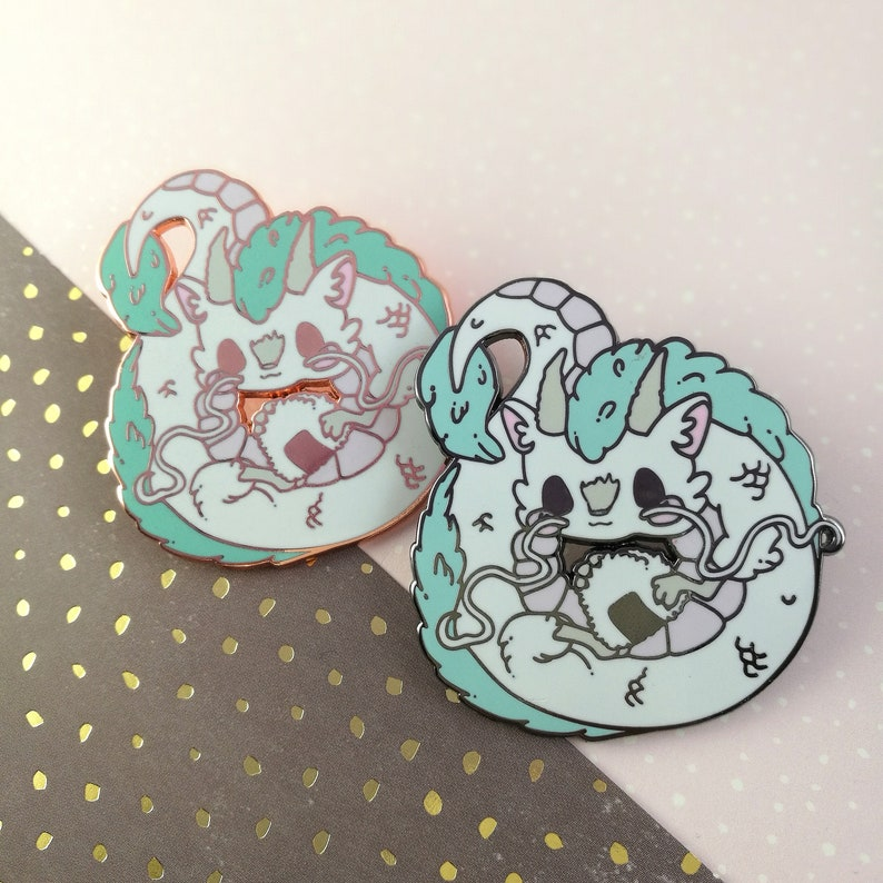 Haku White River Dragon riceball spirit Chibi Anime Pin image 0