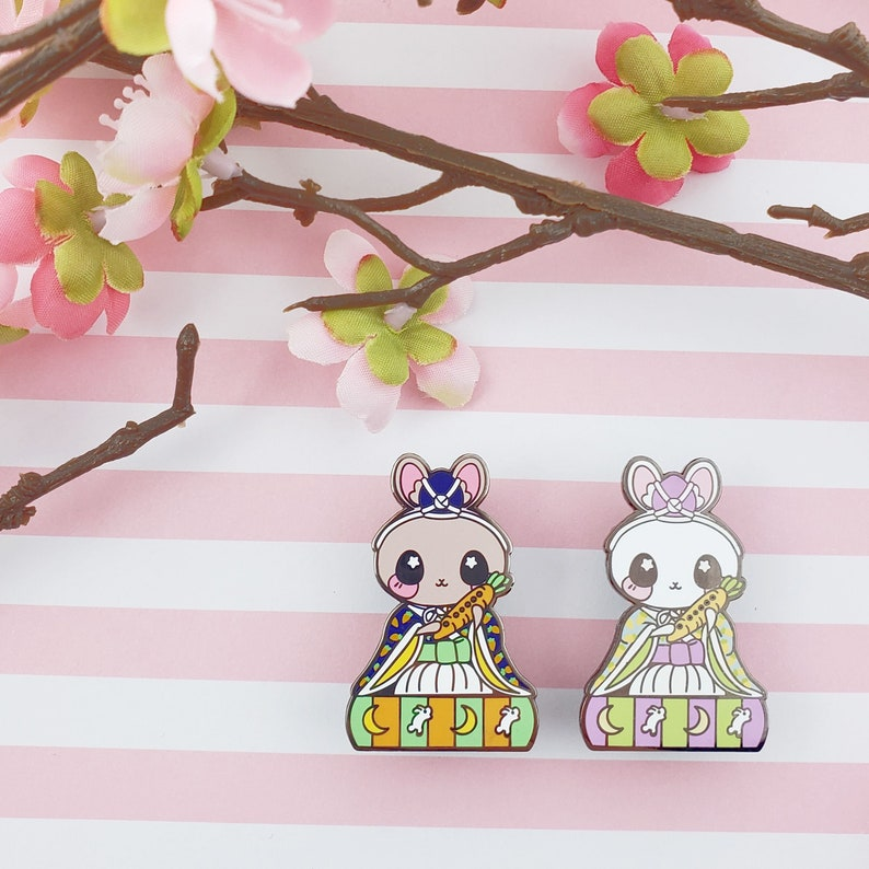 Flutist Bunny: Girl's Day Animal Enamel Pins image 0