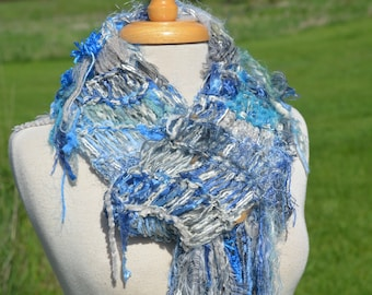 Knit Art Scarf, Fringed Scarf in blue grey hues, 'Skyy', accessory, wraps, fashion, couture, tribal, long scarf, women gift, artwear