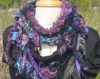 New - Handmade Boho Scrappy Embellished Infinity with leather straps, rivets, ostrich and quail feathers,  Knit necklace, cosplay, artwear