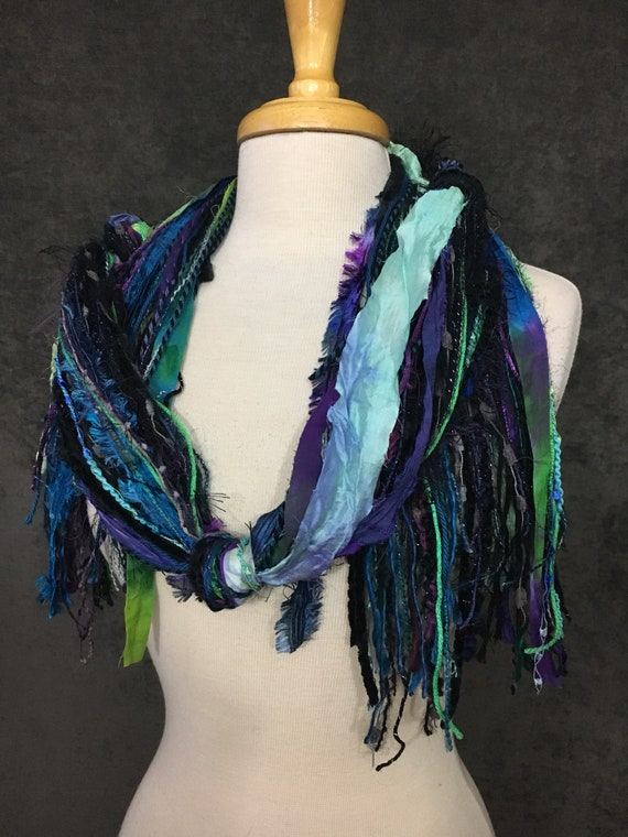 Fringie in Carribean Nights, Fringe Scarf, Handmade hand-tied art yarn scarf in blue black purple, bohemian, gifts, short scarf, boho
