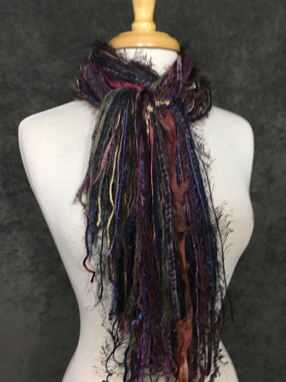Art yarn scarf, Fringie in Shiraz 2, Fringe Scarf, Multitextural fringe scarf in maroon bronze black, boho chic, funky scarf, tribal
