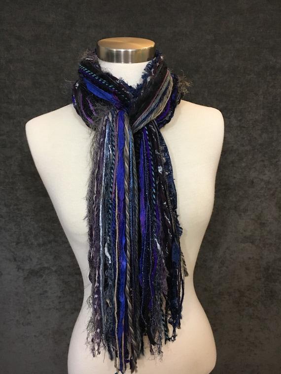 Art yarn scarf, Fringie in Midnight Oil, Fringe Scarf, Multitextural fringe scarf in purple navy black, boho chic, funky scarf, gift