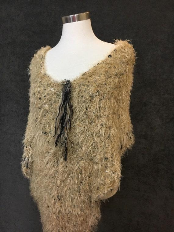Woven Knit XL Fluffy draping fur-like Poncho, reversible, Knit Shoulder wrap, tan beige poncho, accessories, knit sweater, knitwear