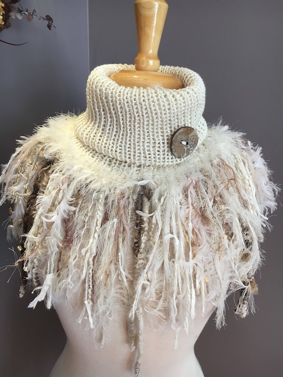 Handmade Knit Cowl with artsy fringe, Knit neckwarmer, turtleneck scarf, ivory scarves, hand spun fibers, cream tan boho, tribal knit