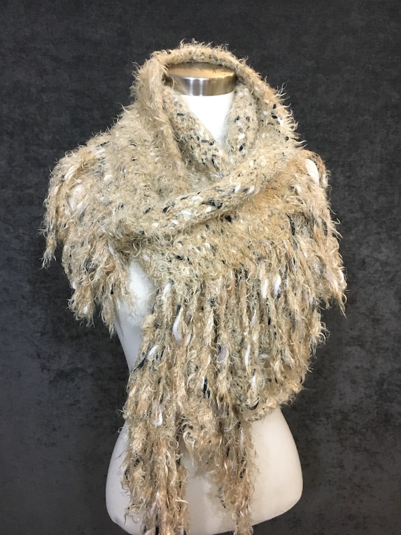 Plush Super-soft multitextural scarf or shawl with edge fringe loops in tan beige, boho, luxury, wearable art, knit, woven, winter shawl