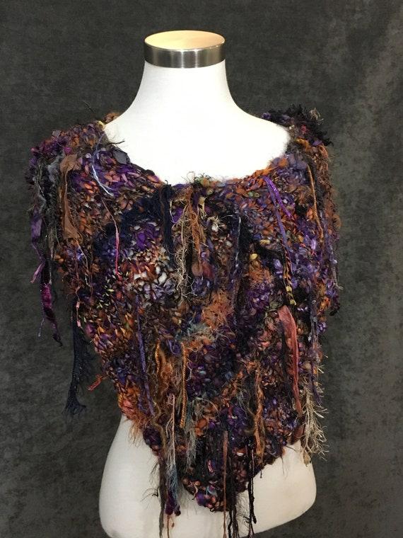 Fringed Plush Knit Cowl, Autumn Harvest, Boho Fringed Poncho, wearable art, handspun art yarn, artwear, vibrant, chunky cowl